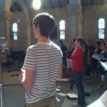 Recording session with the WMU chorale with Blake as a soloist