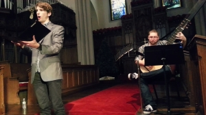 In a recording session with Theorbo player, Kyle Thompson, Fall 2013